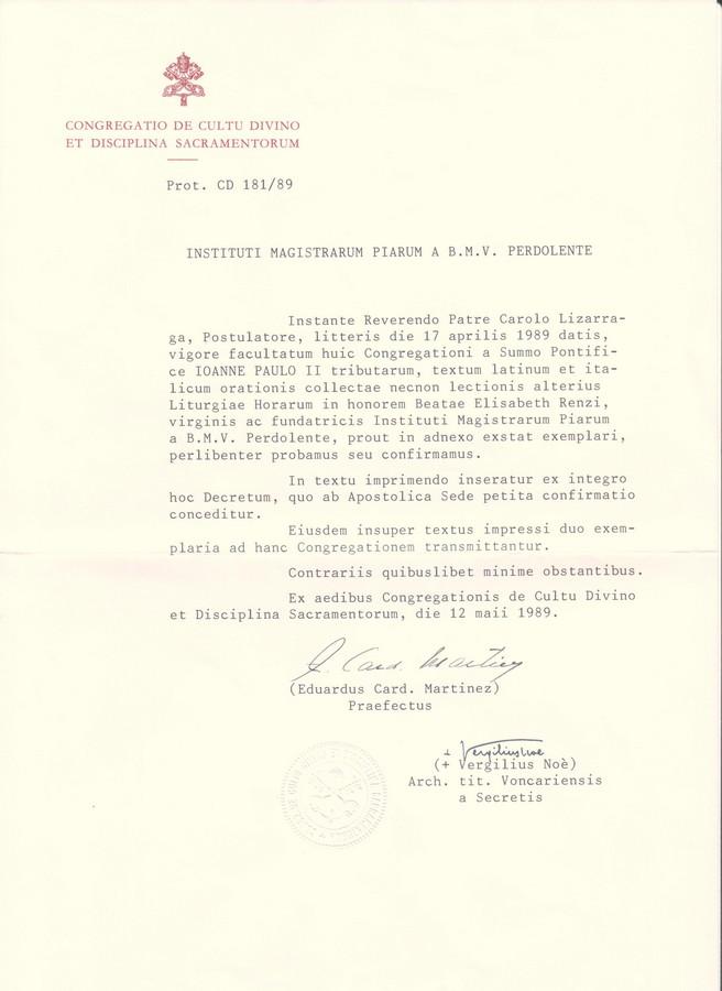 Lettera testo liturgico
