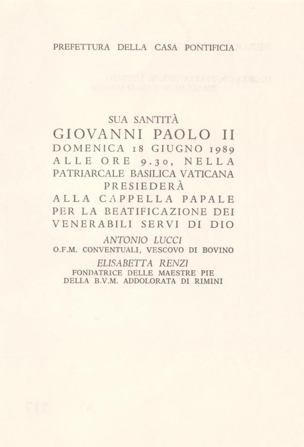 Biglietto ingresso S. Pietro per la beatificazione