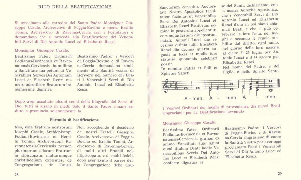 Formula della beatificazione